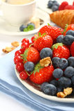 Fresh berries on plate for breakfast Stock Photos