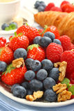 Fresh berries on plate for breakfast Royalty Free Stock Photo