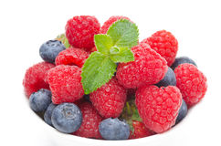 Fresh berries (raspberries, blueberries, strawberries) in a bowl Stock Photos