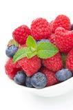 Fresh berries (raspberries, blueberries, strawberries) close-up Stock Images