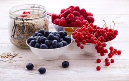 Fresh berries raspberries, yogurt and homemade granola for breakfast, top view, horizontal Royalty Free Stock Photos