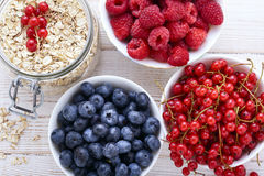 Fresh berries raspberries, yogurt and homemade granola for breakfast, top view, horizontal Royalty Free Stock Image