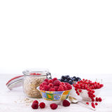 Fresh berries raspberries, yogurt and homemade granola for breakfast, top view, square Stock Photos