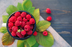 Fresh berries of raspberry in an iron mug Stock Photos