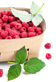 Fresh berries raspberry in wicker basket. With green leaves. On white background Stock Photo