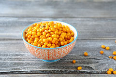 Fresh berries of sea buckthorn Stock Photos