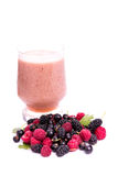 Fresh berries smoothie isolated on white Royalty Free Stock Photography