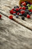 Fresh berries spilling from a bowl Royalty Free Stock Image