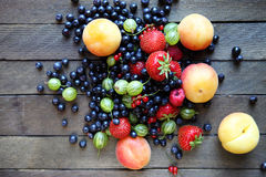 Fresh berries on the table, top view. Food closeup Stock Image