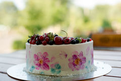 Fresh berries on the tart cake from above.Selective focus on the tart. Fresh berries on the tart cake from above. Selective focus on the tart Stock Image