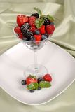 Fresh berries topped with mint and powdered sugar in and around Royalty Free Stock Photo