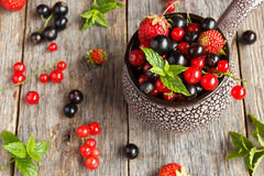Fresh berries. Various summer berries in a bowl on rustic wooden table. Stock Photography