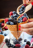 Fresh berries in waffle cone Royalty Free Stock Photos