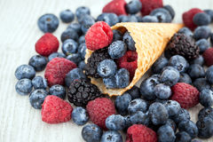 Fresh berries in waffle cone Stock Photo