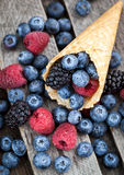 Fresh berries in waffle cone Royalty Free Stock Photography