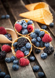 Fresh berries in waffle cone Royalty Free Stock Images