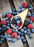 Fresh berries in waffle cone Stock Photography