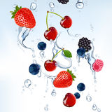 Fresh berries with water Royalty Free Stock Photography