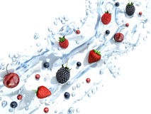 Fresh berries in water splash Stock Photo