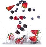 Fresh berries with water splash Royalty Free Stock Photos