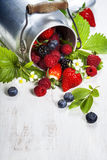 Fresh Berries on Wooden Background. Royalty Free Stock Photo
