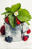Fresh Berries on Wooden Background. Stock Photo