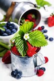 Fresh Berries on Wooden Background. Stock Image