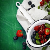 Fresh Berries on Wooden Background. Strawberries, Raspberries an Royalty Free Stock Photos