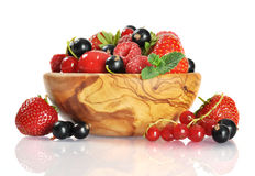 Fresh berries in wooden bowl Royalty Free Stock Photos