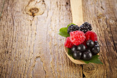 Fresh berries in wooden spoon. On wooden table Stock Images