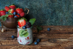 Fresh berries and yogurt. Healthy breakfast, fresh berries and yogurt Royalty Free Stock Image