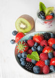 Fresh berries and yougurt Stock Images