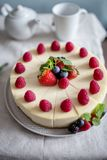 Fresh berry cheesecake, food photography, recipe idea for magazine royalty free stock images