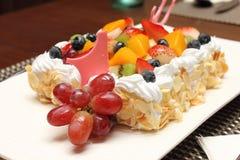 Fresh berry fruit cream cake pastry closeu Stock Image