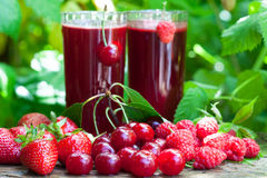 Fresh berry fruit juice Stock Photos