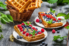 Fresh berry fruit on waffels Royalty Free Stock Photography
