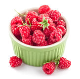 Fresh berry raspberry with green leaf. On white background Stock Photos
