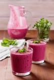Fresh berry smoothie, milkshake, yogurt, dessert decorated grated chocolate Stock Photo