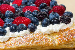 Fresh berry tart with cream and sugar Royalty Free Stock Images
