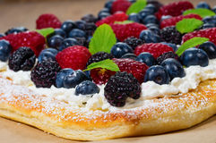 Fresh berry tart with cream and sugar Stock Photography