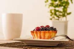 Fresh berry tartlet or cake filled with custard, raspberry, blueberry redcurrant and blackberry delicious dessert, easy diet. Clos. E up Stock Image