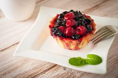 Fresh berry tartlet or cake filled with custard, raspberry, blueberry redcurrant and blackberry delicious dessert, easy. Diet. Close up Royalty Free Stock Photography