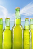 Fresh beverage in the bottles with dew Royalty Free Stock Images