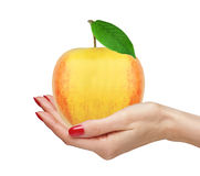 Fresh big apple fruit with green leaf in woman hand isolated on Royalty Free Stock Photo