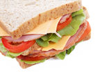 Fresh big ham cheese sandwich isolated Royalty Free Stock Photography
