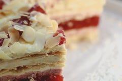 Fresh big piece of nice raspberry cake Stock Image