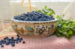 Fresh bilberry. Fresh blueberries in a clay bowl. Нealthy nutrition Stock Image
