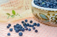 Fresh bilberry. Fresh blueberries in a clay bowl. Нealthy nutrition Stock Photo