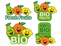 Fresh / Bio fruits seals. Bio Fruits seals set, made for supporting fruit shops and bio products Stock Photos