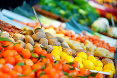 Fresh bio fruits and vegetables on a market Stock Photo